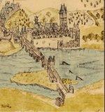 Ausschnitt aus dem Mascop-Plan von 1575 mit der Mainbrücke und der Fischervorstadt