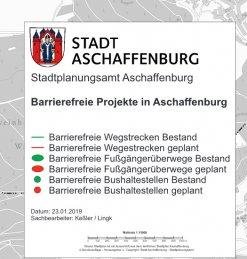 Übersicht von barrierefreien Bushaltestellen, Fußgängerüberwegen sowie barrierefreien Wegstrecken