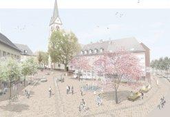 Visualisierte Grafik mit der möglichen künftigen Gestaltung des Michaels-Platzes.