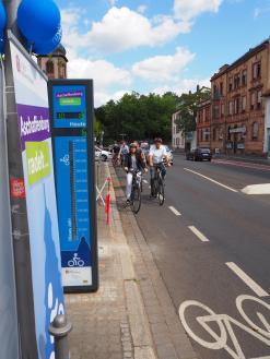 Foto von der Einweihung der Fahrradzählstelle in der Alexandrastraße