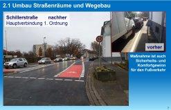 neuer Fahrradmarkierungsstreifen in der Schillerstraße