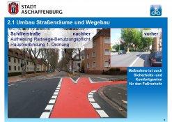Neue Radwegemarkierung in der Schillerstraße (Höhe Boppstraße)