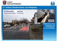 Neue Radwegemarkierung in der Schillerstraße (Höhe Dyroffstraße)