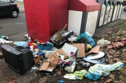 Abfallablagerung hinter Wertstoffcontainern