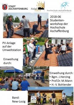 Studenten der Hochschule montieren eine Photovoltaikanlage auf dem Dach der Umweltstation