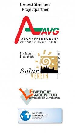 Logos der Unterstützer: AVG, Solarverein, Energieagentur Bayerischer Untermain und Nationale Klimaschutzinitiative