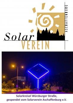Solarwürfel am Kreisel in der Würzburger Straße bei Nacht