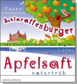 Ettikett des Schlaraffenburger Apfelsafts