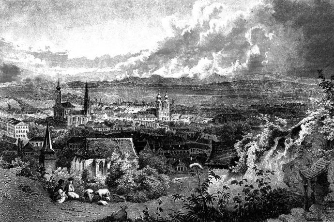 Panorama der Stadt Miskolc von 1840
