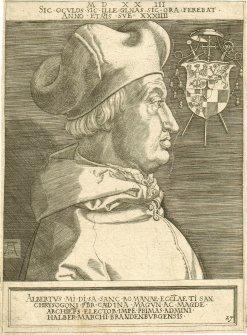 Kupferstich, der Albrecht von Brandenburg zeigt.