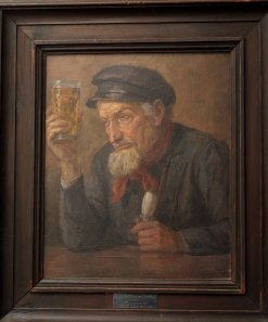 Adalbert Hock, Apfelweintrinker (Kumbeer), 1922, Öl auf Leinwand, Museen der Stadt Aschaffenburg.