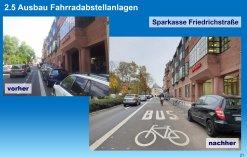neue Rad- und Bus-Spur in der Friedrichstraße