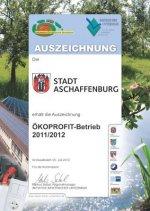 Urkunde: Ökoprofit-Betrieb 2011/12 für die Stadt Aschaffenburg