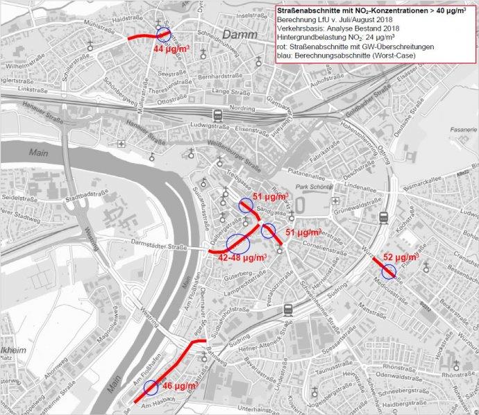 Stadtplan zeigt Straßenabschnitte mit erhöhten Stickstoffdioxidwerten