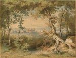 Blick auf Aschaffenburg, aquarellierte Tuschzeichnung