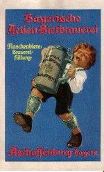 Reklamemarke für die Bayerische Actien-Bierbrauerei Aschaffenburg