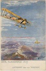 Motivseite einer Postkarte: Luftkampf über den Vogesen, 1916