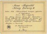 Urkunde zur Verleihung des König-Ludwig-Kreuzes an Korbinian Galm im November 1917