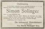 Am 24. Dezember 1918 wird die Danksagung der Hinterbliebenen Simon Solingers in der Aschaffenburger Zeitung veröffentlicht.