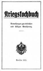 Titelblatt Kriegskochbuch mit Anweisungen zur einfachen und billigen Ernährung, 1915