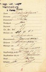 Karteikarte des Kriegsgefangenenlagers Hammelburg für Misak Chatschaturow, um 1915
