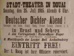 Ein Plakat kündigt für den 25. Juli 1915 einen Dichterabend in Douai an
