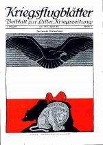 Titelblatt der Kriegsflugblätter August 1915: Der deutsche Greif schwebt über dem englischen Löwen, dem russischen Bären und dem gallischen Hahn.