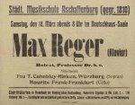 Plakat zum Regerkonzert am 18. März 1916