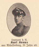 Ausschnitt aus dem Gedenkblatt im Spessartkalender 1917 mit dem Brustbild von Karl Kraus