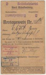 Brotausweis des Brauereibesitzers Georg Ebert mit rotem und blauem Stempel der Metzger
