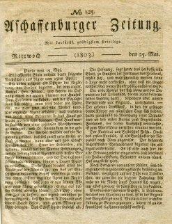 Titelblatt der Aschaffenburger Zeitung vom 25. Mai 1803