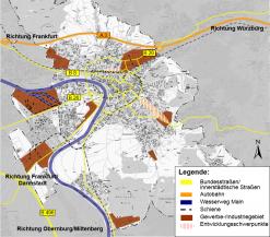 Schematische Übersicht Gewerbe- und Industriegebiete Aschaffenburg