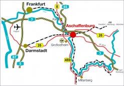 Übersicht verkehrliche Erreichbarkeit Wirtschaftsstandort Aschaffenburg